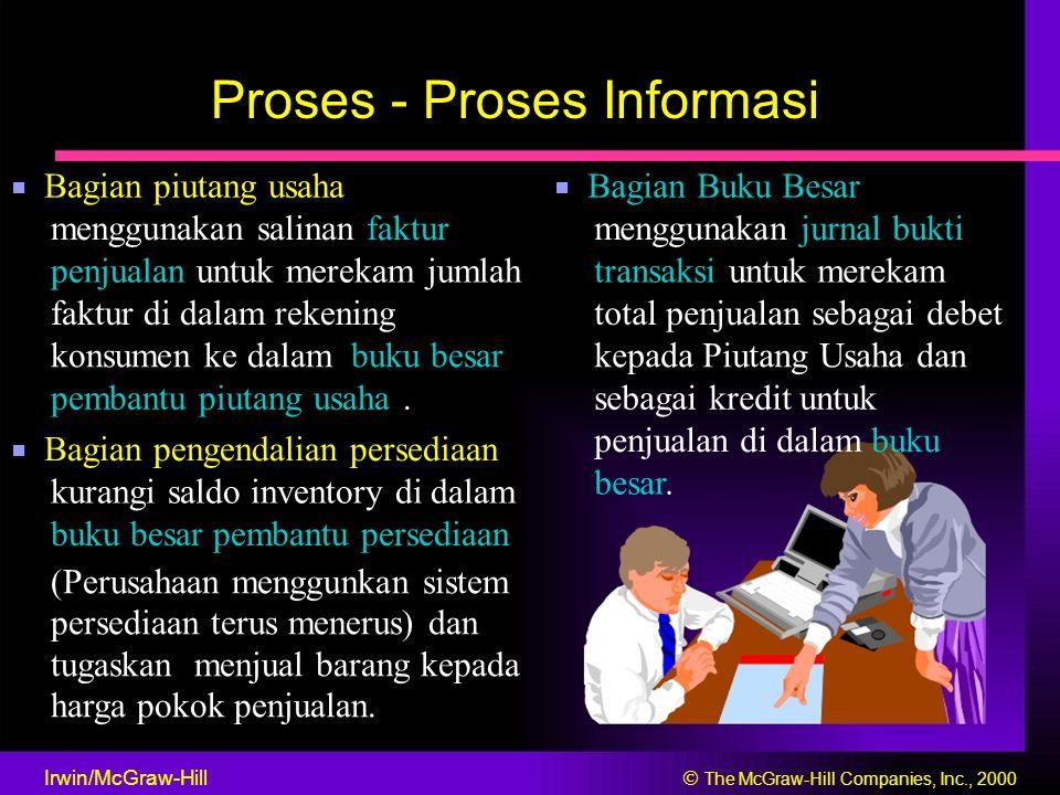 Proses - Proses Informasi ■ Bagian piutang usaha ■ Bagian Buku Besar menggunakan salinan fakturmenggunakan jurnal bukti penjualan untuk merekam jumlah