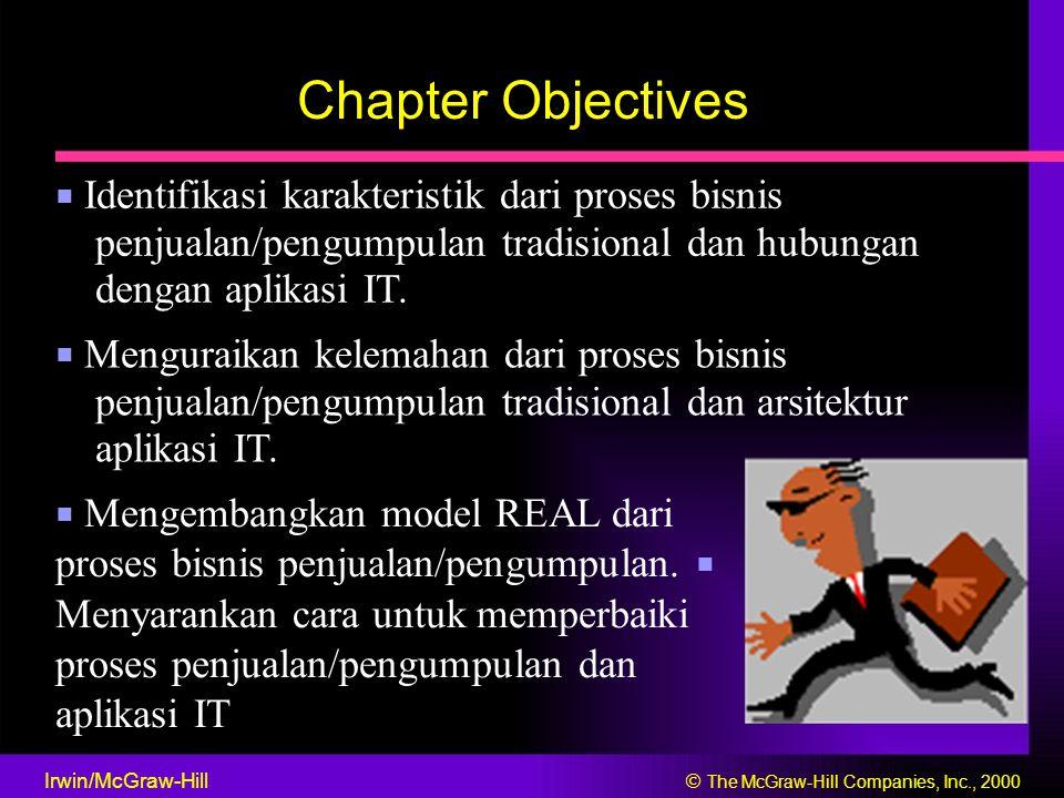 Chapter Objectives ■ Identifikasi karakteristik dari proses bisnis penjualan/pengumpulan tradisional dan hubungan dengan aplikasi IT. ■ Menguraikan ke