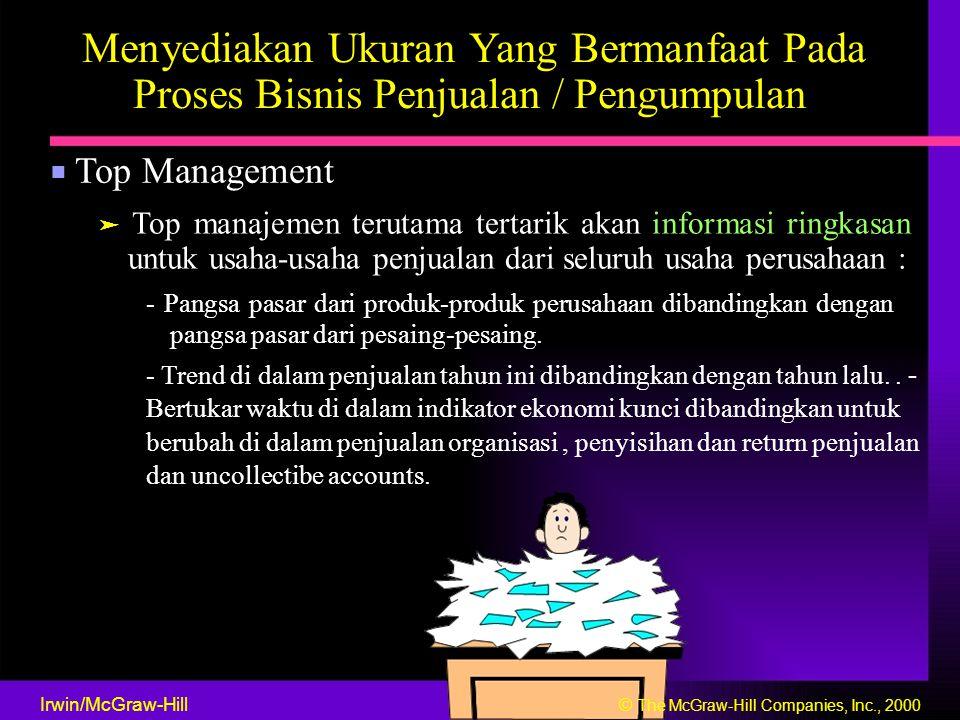 Menyediakan Ukuran Yang Bermanfaat Pada Proses Bisnis Penjualan / Pengumpulan ■ Top Management ➤ Top manajemen terutama tertarik akan informasi ringka
