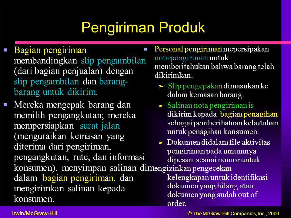 Pengiriman Produk ■ Personal pengiriman mepersipakan ■ Bagian pengiriman nota pengiriman untuk membandingkan slip pengambilan memberitahukan bahwa bar