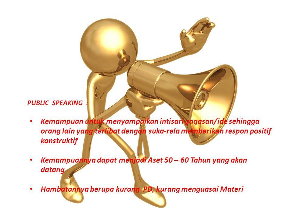 PUBLIC SPEAKING : Kemampuan untuk menyampaikan intisari gagasan/ide sehingga orang lain yang terlibat dengan suka-rela memberikan respon positif konst