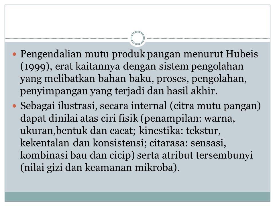 Pengendalian mutu produk pangan menurut Hubeis (1999), erat kaitannya dengan sistem pengolahan yang melibatkan bahan baku, proses, pengolahan, penyimp