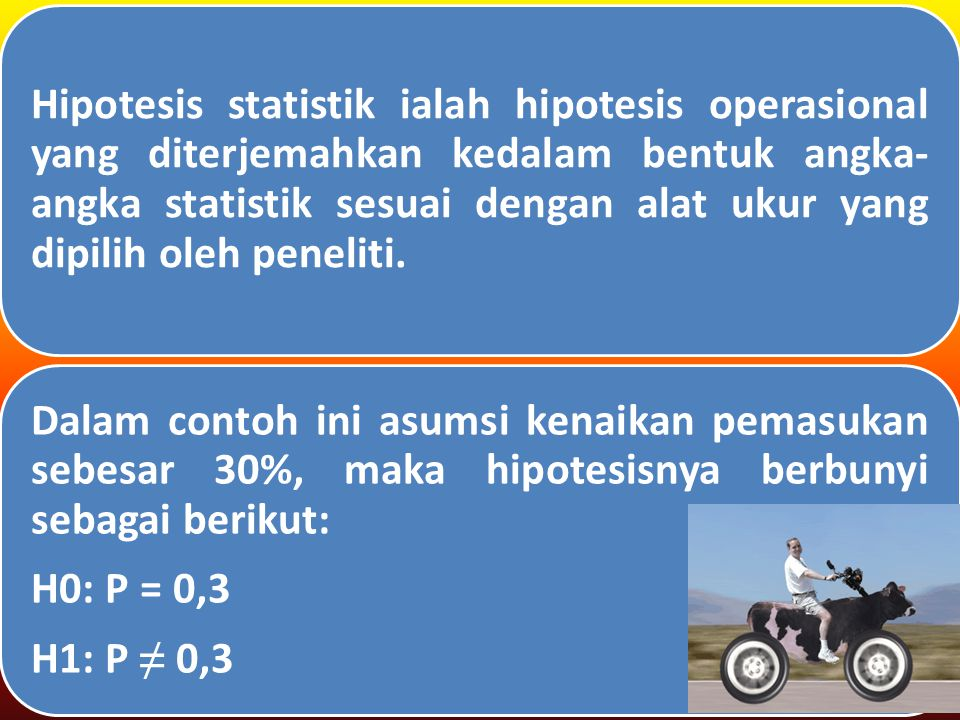 Hipotesis statistik ialah hipotesis operasional yang diterjemahkan kedalam bentuk angka- angka statistik sesuai dengan alat ukur yang dipilih oleh peneliti.