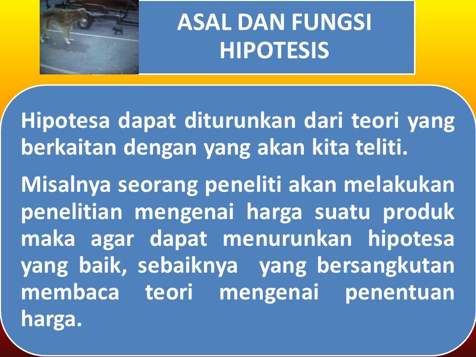 ASAL DAN FUNGSI HIPOTESIS Hipotesa dapat diturunkan dari teori yang berkaitan dengan yang akan kita teliti.