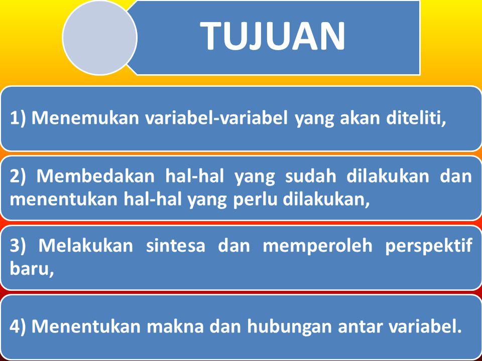 TUJUAN 1) Menemukan variabel-variabel yang akan diteliti, 2) Membedakan hal-hal yang sudah dilakukan dan menentukan hal-hal yang perlu dilakukan, 3) Melakukan sintesa dan memperoleh perspektif baru, 4) Menentukan makna dan hubungan antar variabel.