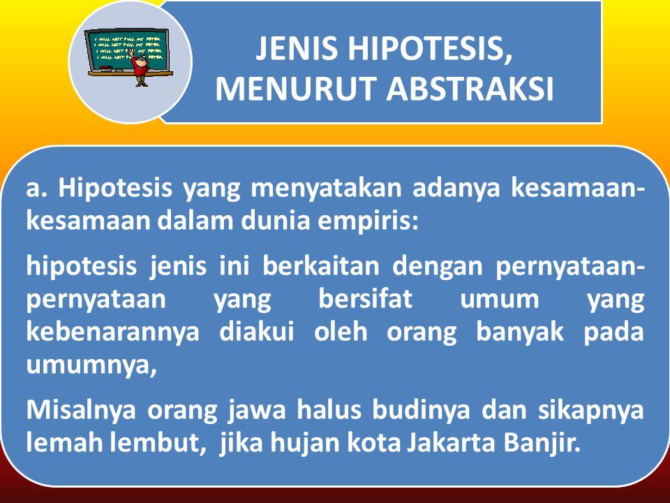 JENIS HIPOTESIS, MENURUT ABSTRAKSI a.