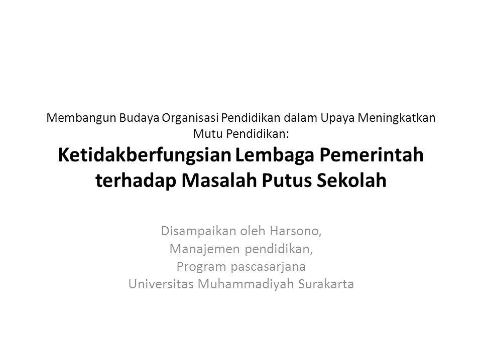 Membangun Budaya Organisasi Pendidikan dalam Upaya Meningkatkan Mutu Pendidikan: Ketidakberfungsian Lembaga Pemerintah terhadap Masalah Putus Sekolah Disampaikan oleh Harsono, Manajemen pendidikan, Program pascasarjana Universitas Muhammadiyah Surakarta