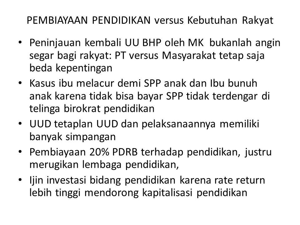 PEMBIAYAAN PENDIDIKAN versus Kebutuhan Rakyat Peninjauan kembali UU BHP oleh MK bukanlah angin segar bagi rakyat: PT versus Masyarakat tetap saja beda
