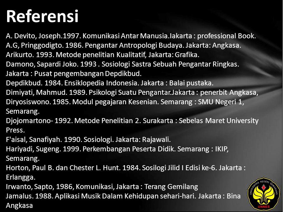 Referensi A. Devito, Joseph.1997. Komunikasi Antar Manusia.Iakarta : professional Book. A.G, Pringgodigto. 1986. Pengantar Antropologi Budaya. Jakarta
