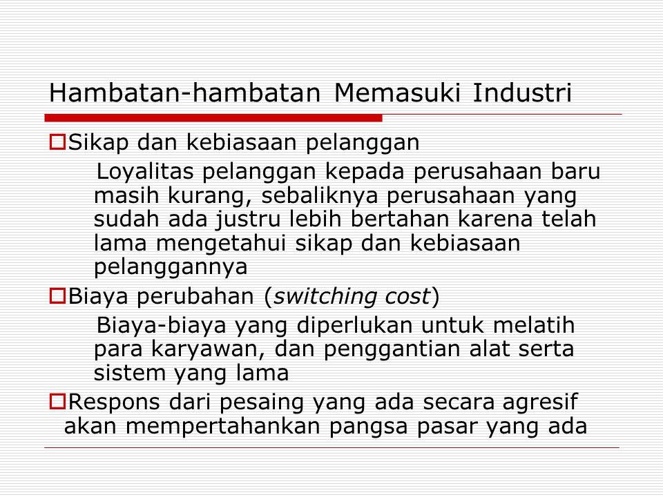 Hambatan-hambatan Memasuki Industri  Sikap dan kebiasaan pelanggan Loyalitas pelanggan kepada perusahaan baru masih kurang, sebaliknya perusahaan yan