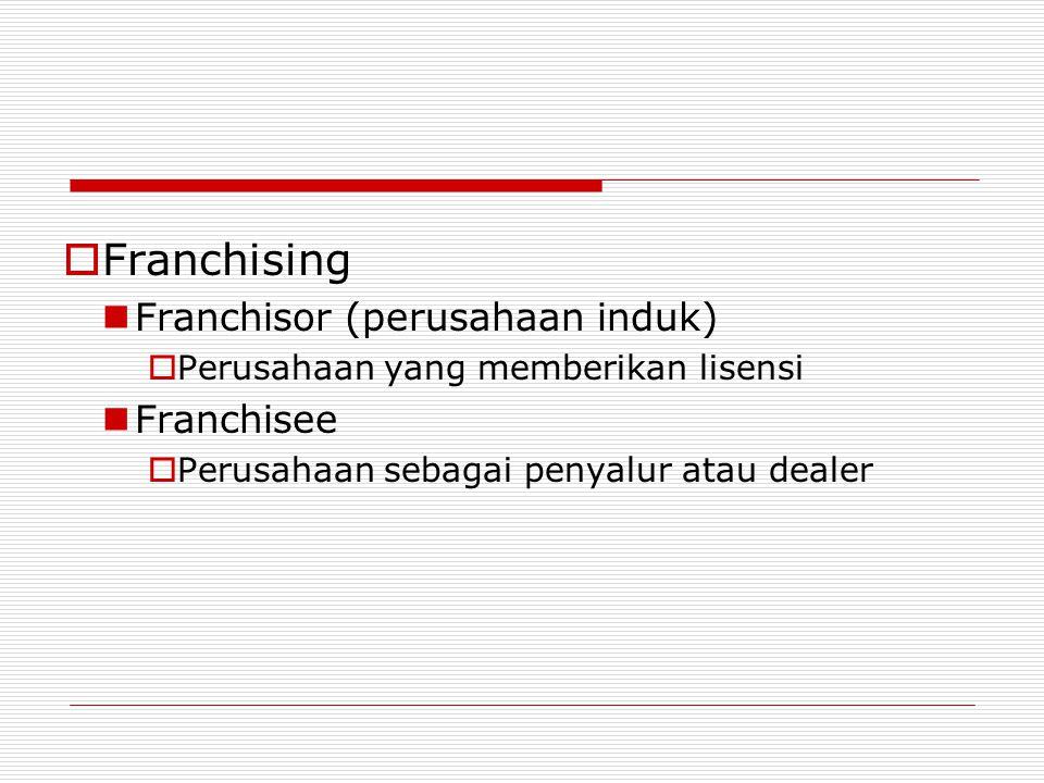  Franchising Franchisor (perusahaan induk)  Perusahaan yang memberikan lisensi Franchisee  Perusahaan sebagai penyalur atau dealer