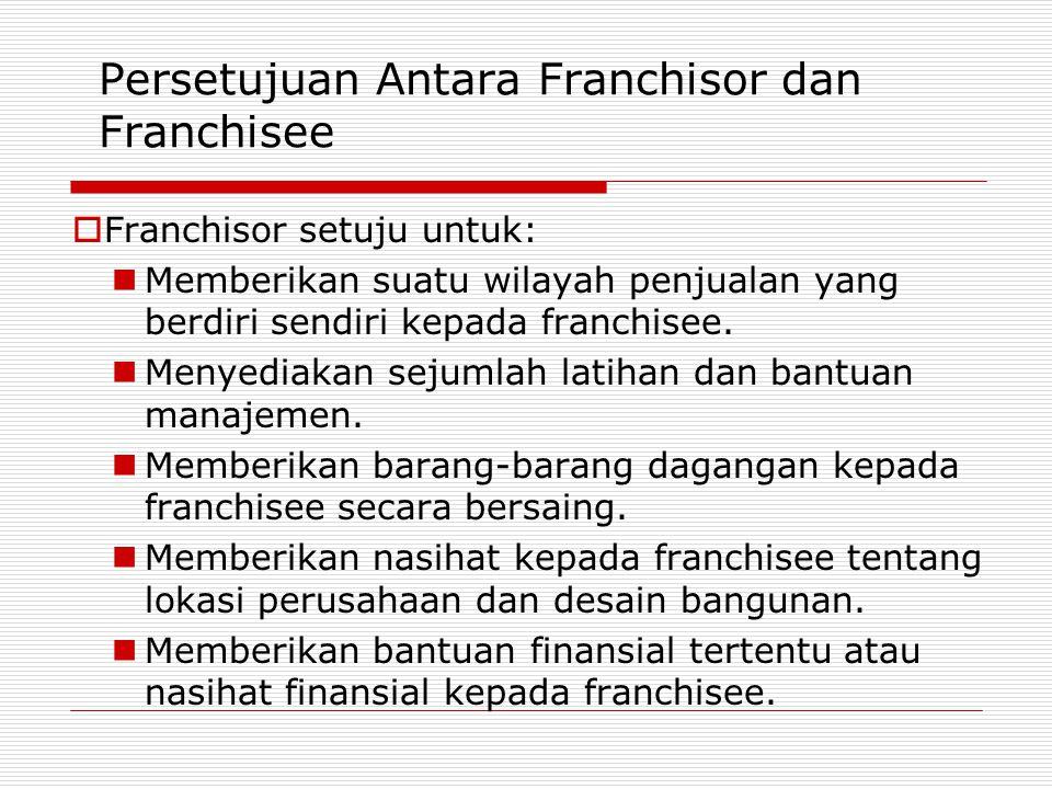 Persetujuan Antara Franchisor dan Franchisee  Franchisor setuju untuk: Memberikan suatu wilayah penjualan yang berdiri sendiri kepada franchisee. Men