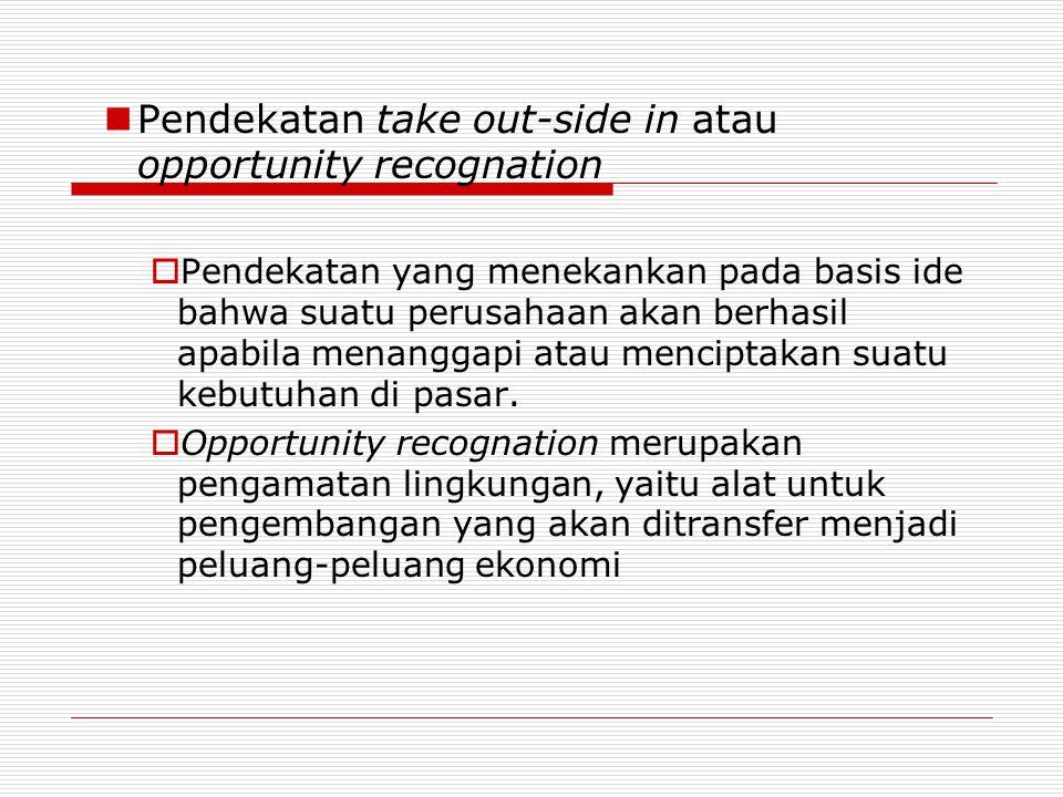 Pendekatan take out-side in atau opportunity recognation  Pendekatan yang menekankan pada basis ide bahwa suatu perusahaan akan berhasil apabila mena
