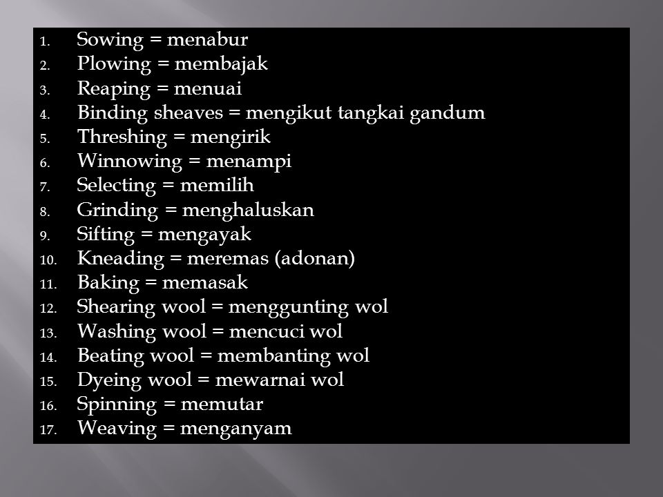 18.Making two loops = membuat 2 ikal 19. Weaving two threads = menganyam dua benang 20.