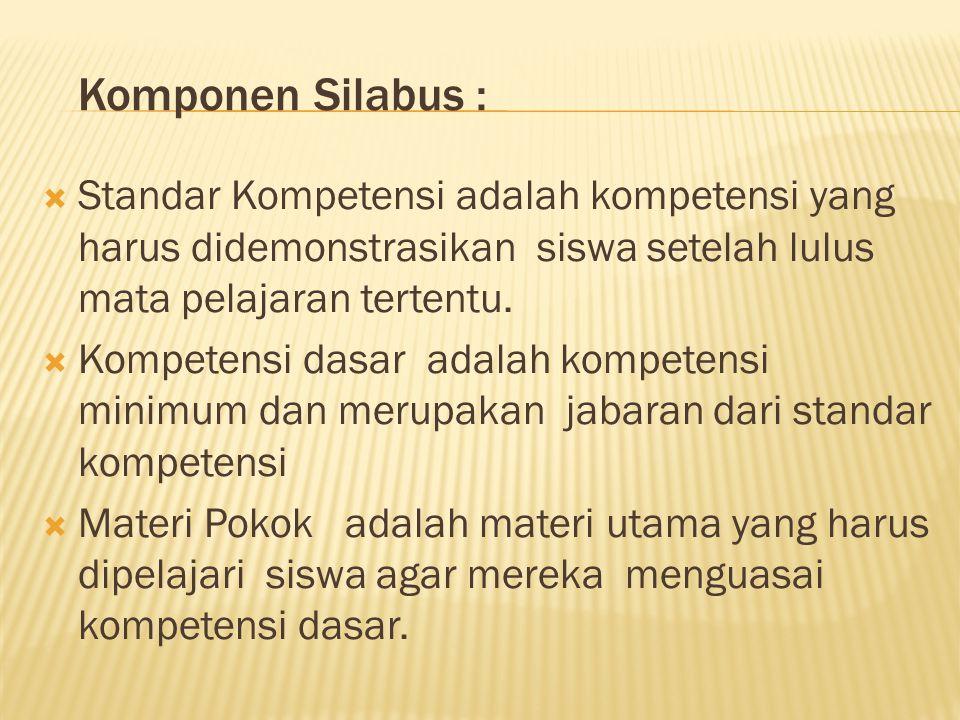 Komponen Silabus :  Pengalaman belajar : adalah kegiatan yang harus dilakukan siswa dalam berinteraksi dengan objek belajar agar menguasai Kompetensi Dasar.
