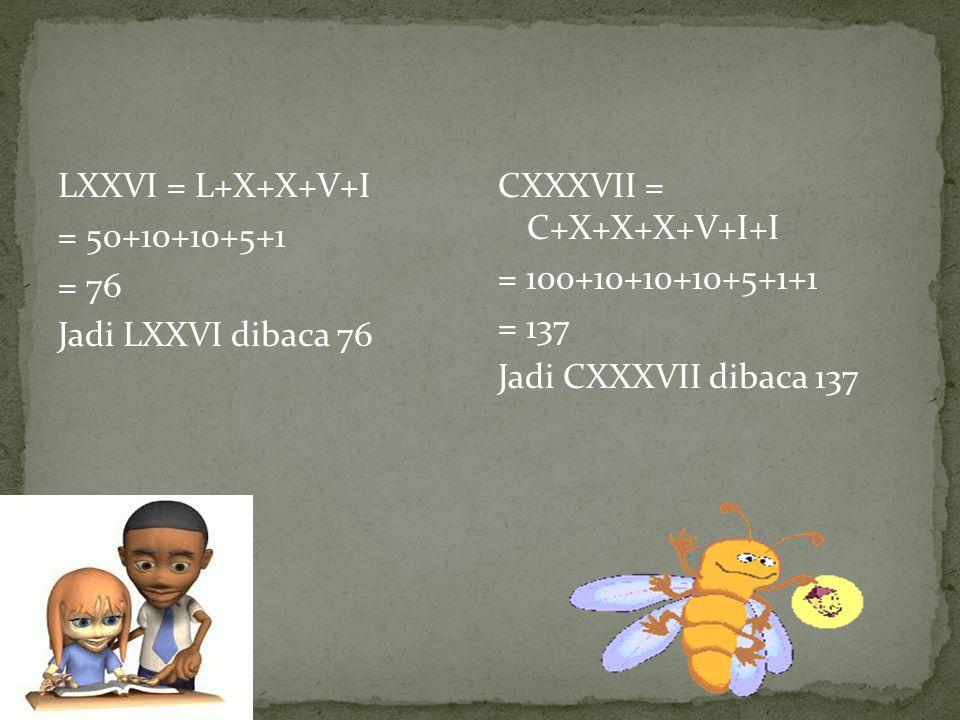 LXXVI = L+X+X+V+I = 50+10+10+5+1 = 76 Jadi LXXVI dibaca 76 CXXXVII = C+X+X+X+V+I+I = 100+10+10+10+5+1+1 = 137 Jadi CXXXVII dibaca 137