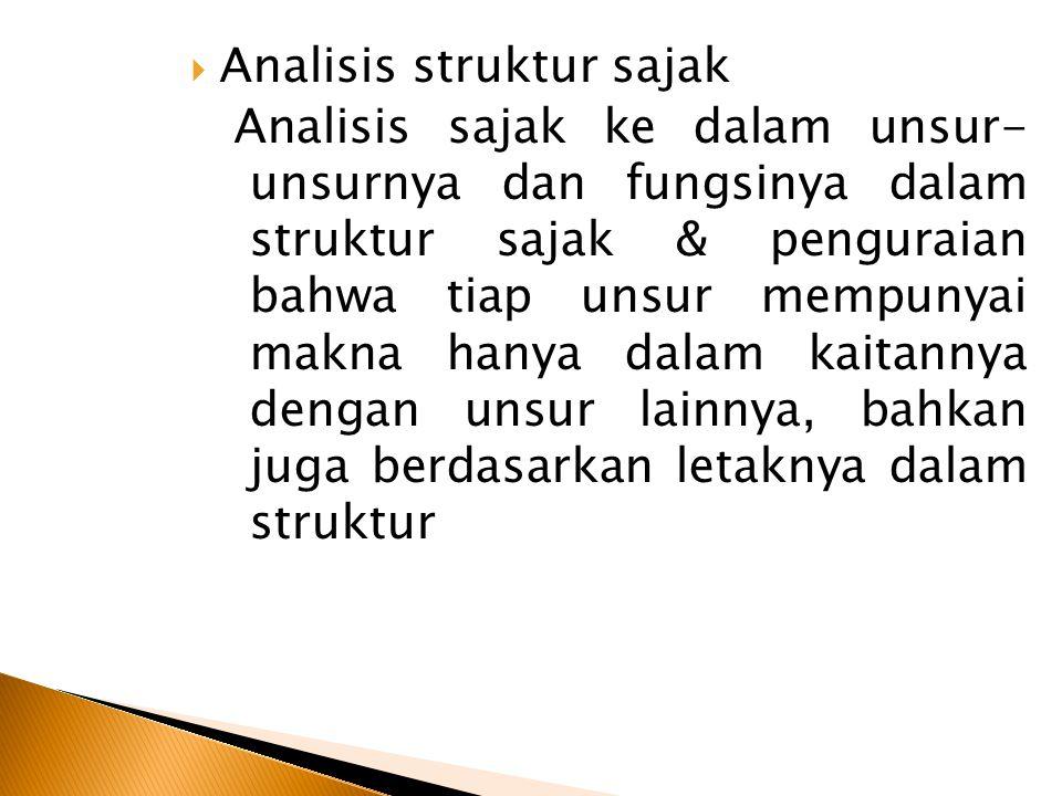 Analisis struktur sajak Analisis sajak ke dalam unsur- unsurnya dan fungsinya dalam struktur sajak & penguraian bahwa tiap unsur mempunyai makna han