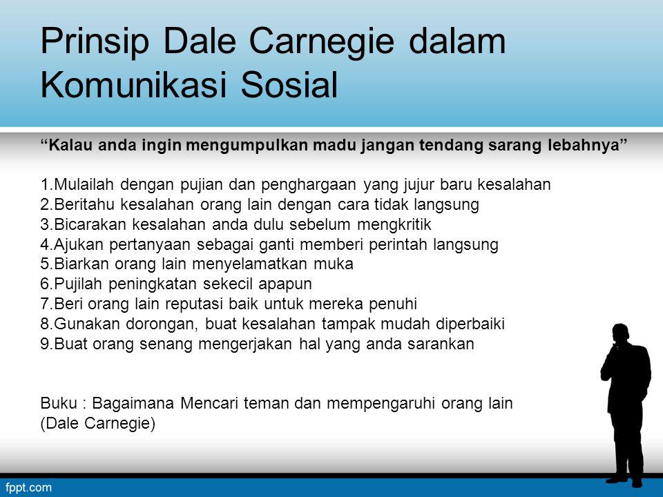 """Prinsip Dale Carnegie dalam Komunikasi Sosial """"Kalau anda ingin mengumpulkan madu jangan tendang sarang lebahnya"""" 1.Mulailah dengan pujian dan penghar"""
