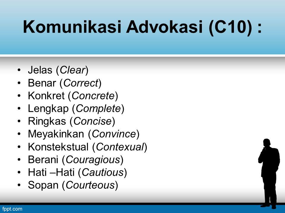 Komunikasi Advokasi (C10) : Jelas (Clear) Benar (Correct) Konkret (Concrete) Lengkap (Complete) Ringkas (Concise) Meyakinkan (Convince) Konstekstual (Contexual) Berani (Couragious) Hati –Hati (Cautious) Sopan (Courteous)