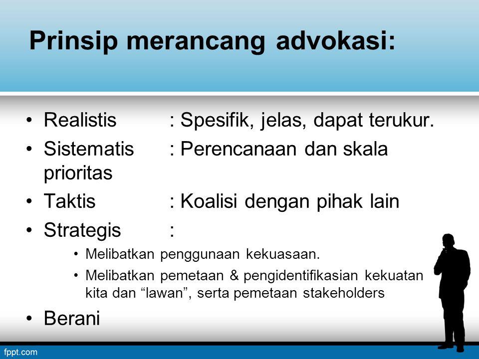 Prinsip merancang advokasi: Realistis: Spesifik, jelas, dapat terukur. Sistematis: Perencanaan dan skala prioritas Taktis : Koalisi dengan pihak lain