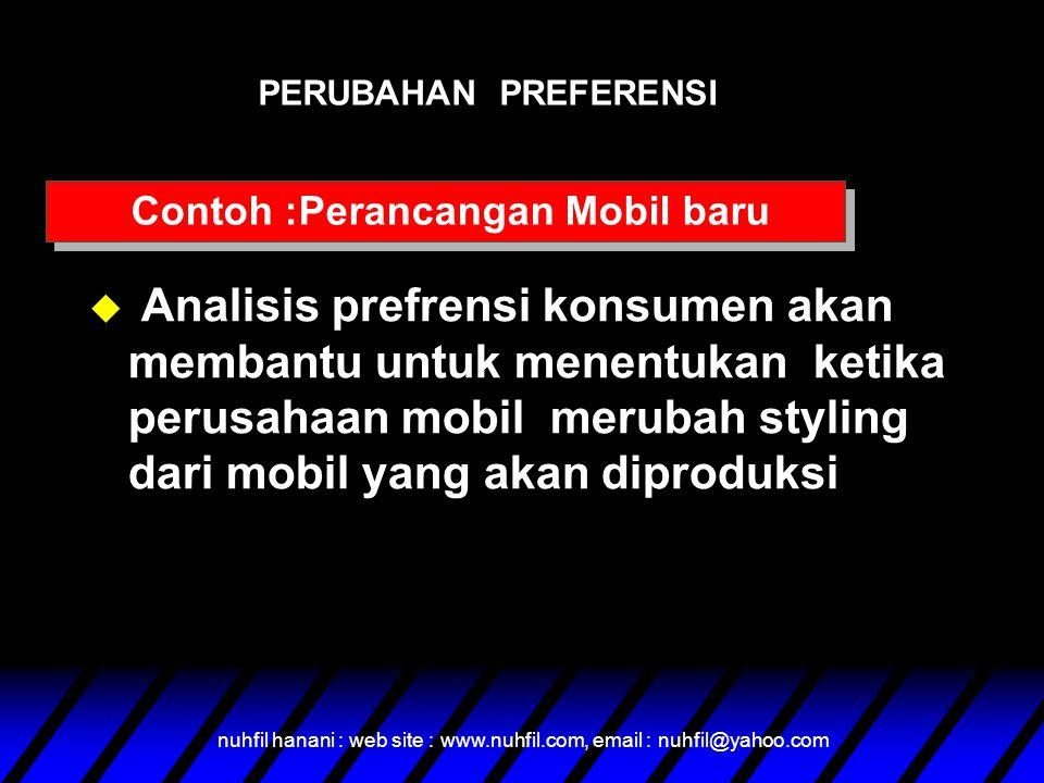 nuhfil hanani : web site : www.nuhfil.com, email : nuhfil@yahoo.com u Analisis prefrensi konsumen akan membantu untuk menentukan ketika perusahaan mob