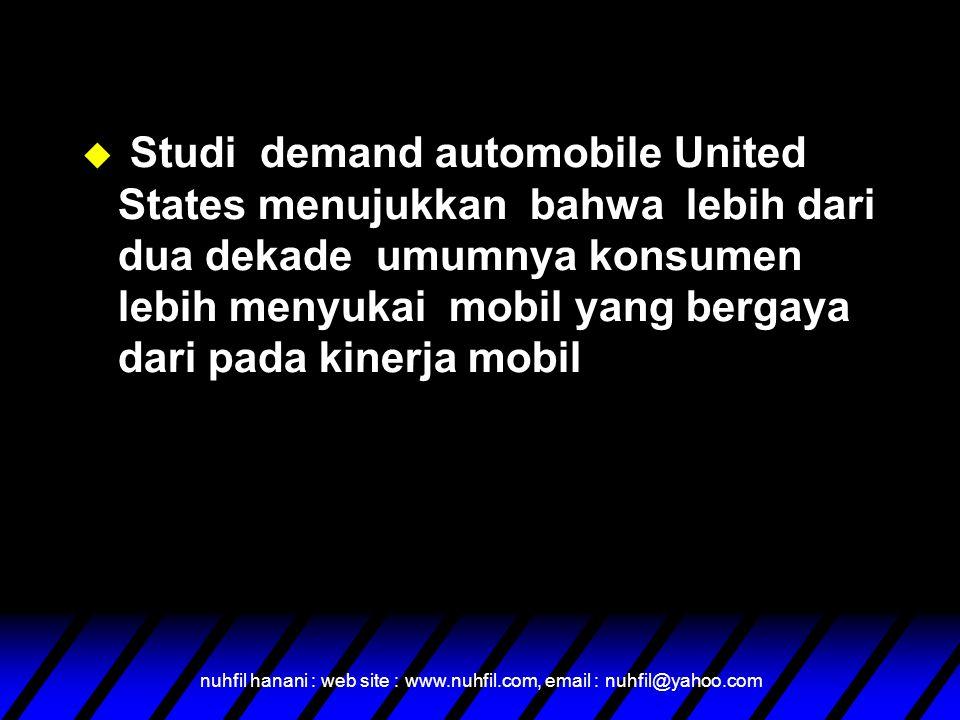 nuhfil hanani : web site : www.nuhfil.com, email : nuhfil@yahoo.com u Studi demand automobile United States menujukkan bahwa lebih dari dua dekade umumnya konsumen lebih menyukai mobil yang bergaya dari pada kinerja mobil