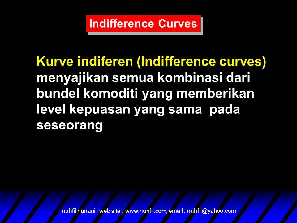 nuhfil hanani : web site : www.nuhfil.com, email : nuhfil@yahoo.com Kurve indiferen (Indifference curves) menyajikan semua kombinasi dari bundel komoditi yang memberikan level kepuasan yang sama pada seseorang Indifference Curves