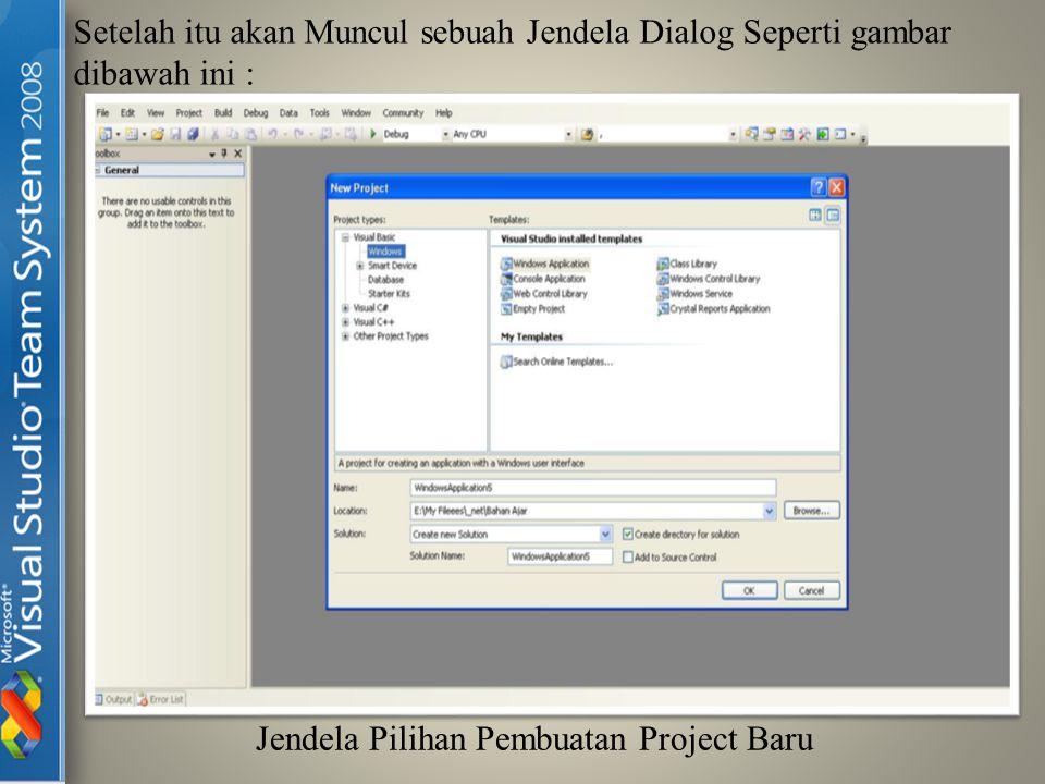 Untuk Membuat Project yang tipenya adalah Windows Application maka Kita Pilih Windows Application.