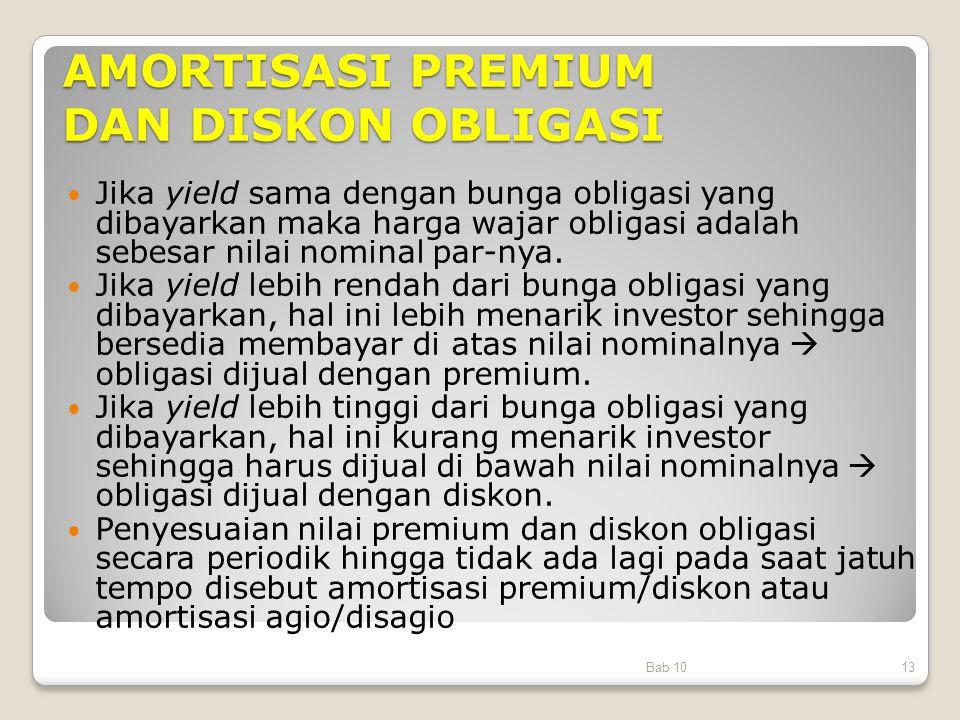 AMORTISASI PREMIUM DAN DISKON OBLIGASI Jika yield sama dengan bunga obligasi yang dibayarkan maka harga wajar obligasi adalah sebesar nilai nominal pa