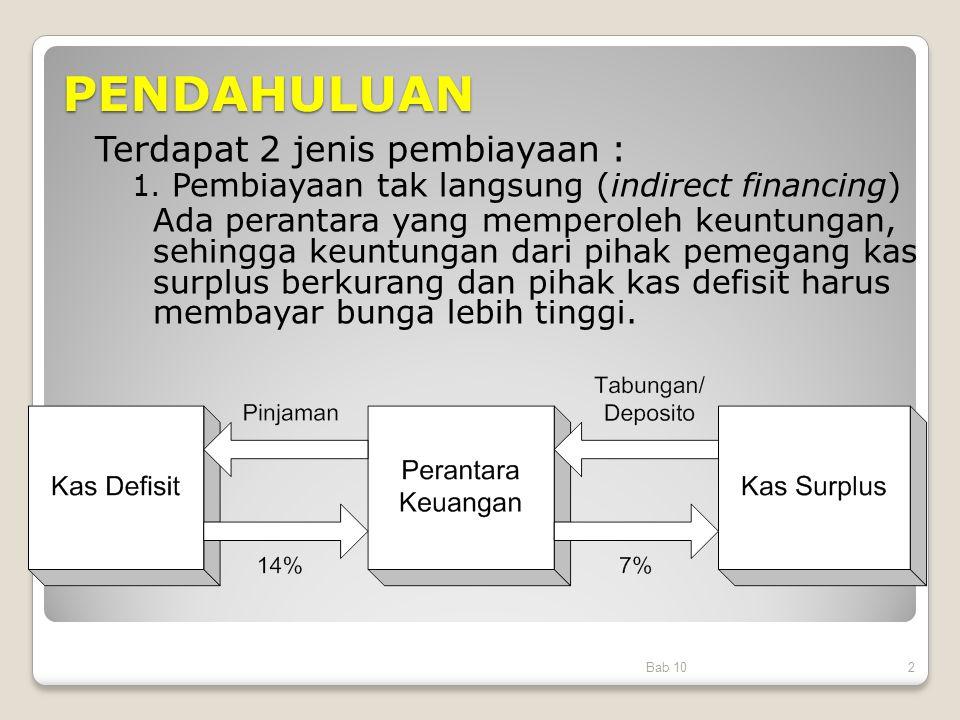 PENDAHULUAN Bab 102 Terdapat 2 jenis pembiayaan : 1. Pembiayaan tak langsung (indirect financing) Ada perantara yang memperoleh keuntungan, sehingga k