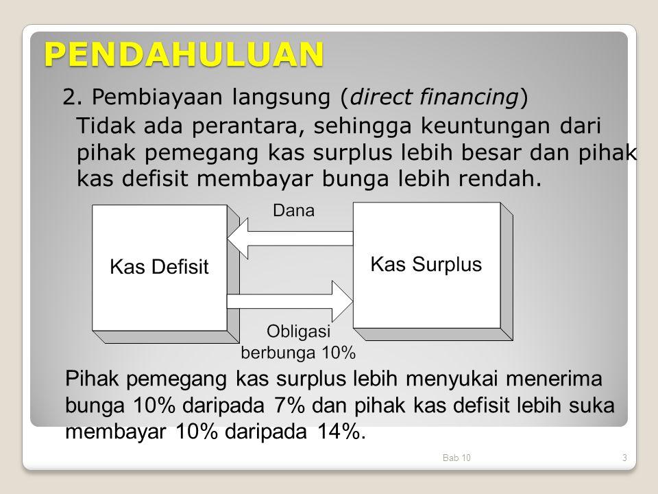 PENDAHULUAN Bab 103 2. Pembiayaan langsung (direct financing) Tidak ada perantara, sehingga keuntungan dari pihak pemegang kas surplus lebih besar dan