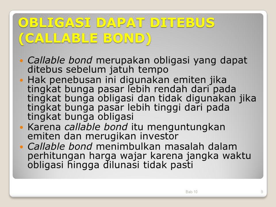 OBLIGASI DAPAT DITEBUS (CALLABLE BOND) Callable bond merupakan obligasi yang dapat ditebus sebelum jatuh tempo Hak penebusan ini digunakan emiten jika