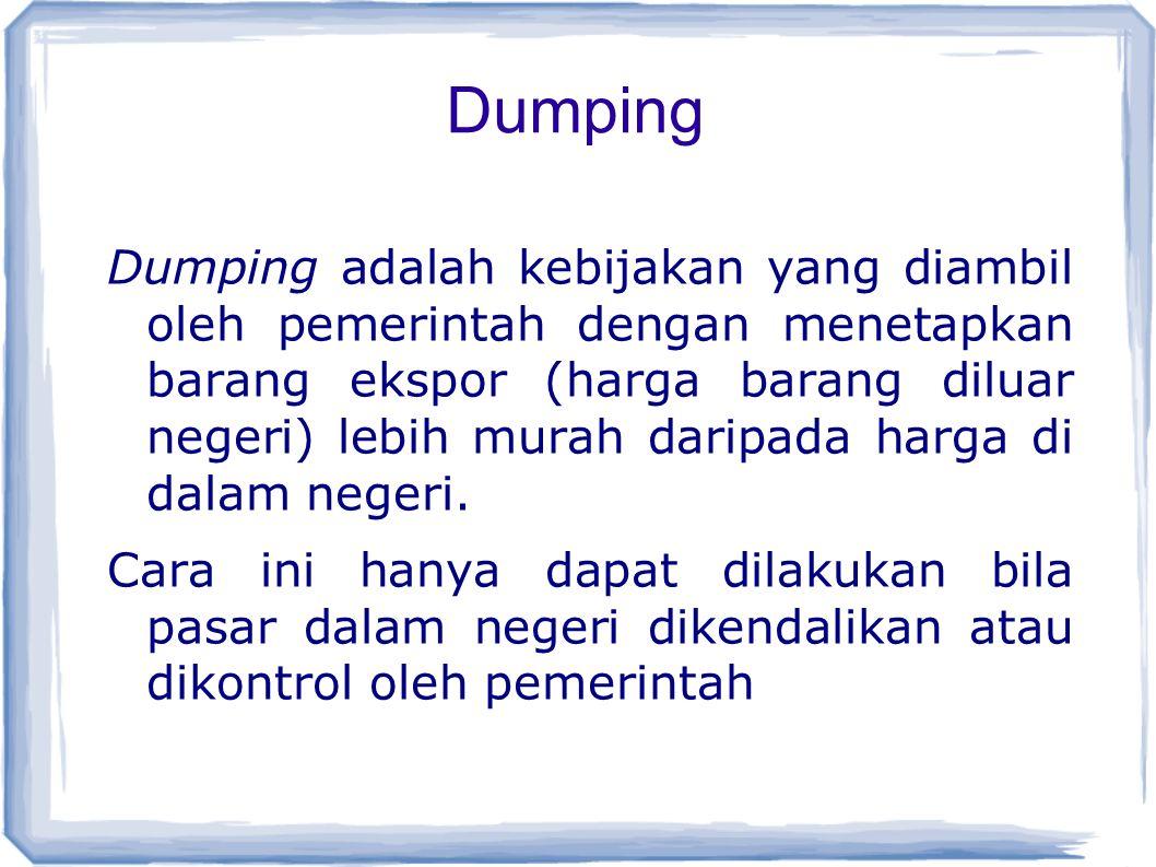 Dumping Dumping adalah kebijakan yang diambil oleh pemerintah dengan menetapkan barang ekspor (harga barang diluar negeri) lebih murah daripada harga