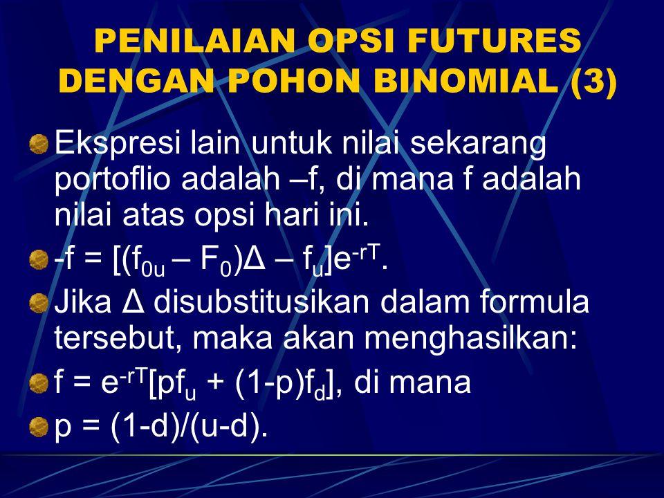 PENILAIAN OPSI FUTURE DENGAN POHON BINOMIAL (2) Portofolio bebas risiko dalam kasus posisi jual dalam satu opsi dikombinasikan dengan posisi beli dala