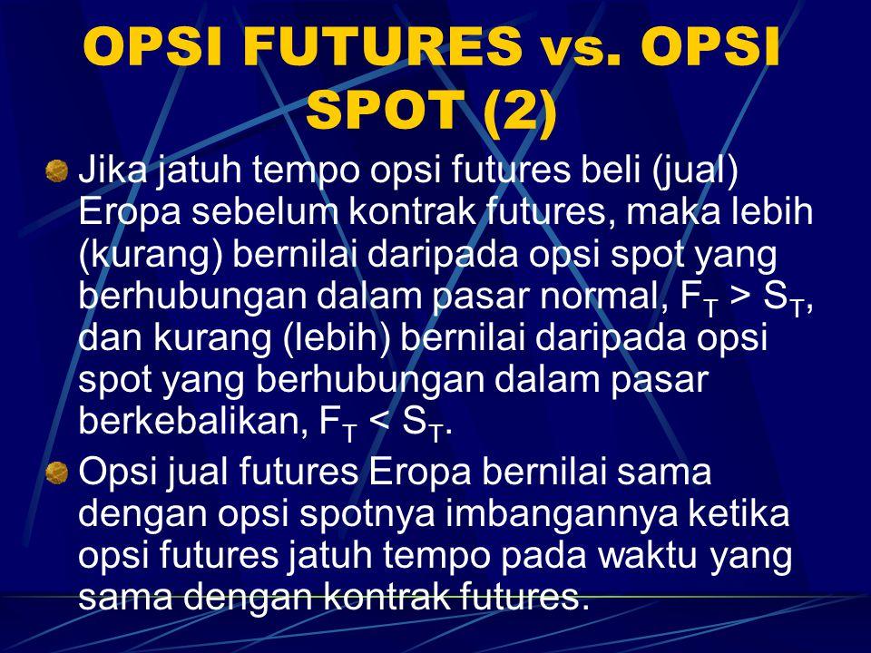 OPSI FUTURES vs. OPSI SPOT (1) Hasil dari opsi beli spot Eropa dengan harga ekskusi K: maks(S T – K, 0). Hasil dari opsi beli futures Eropa dengan har