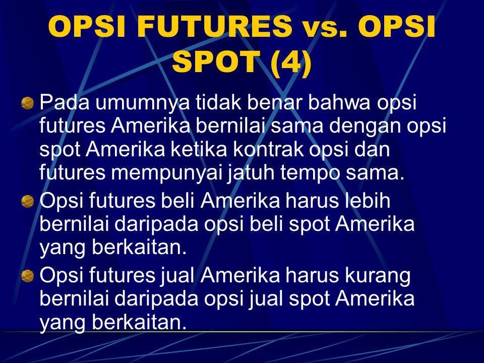 OPSI FUTURES vs. OPSI SPOT (3) Jika opsi futures jual Eropa jatuh tempo sebelum kontrak futures, maka ia akan kurang bernilai dibanding opsi spot yang