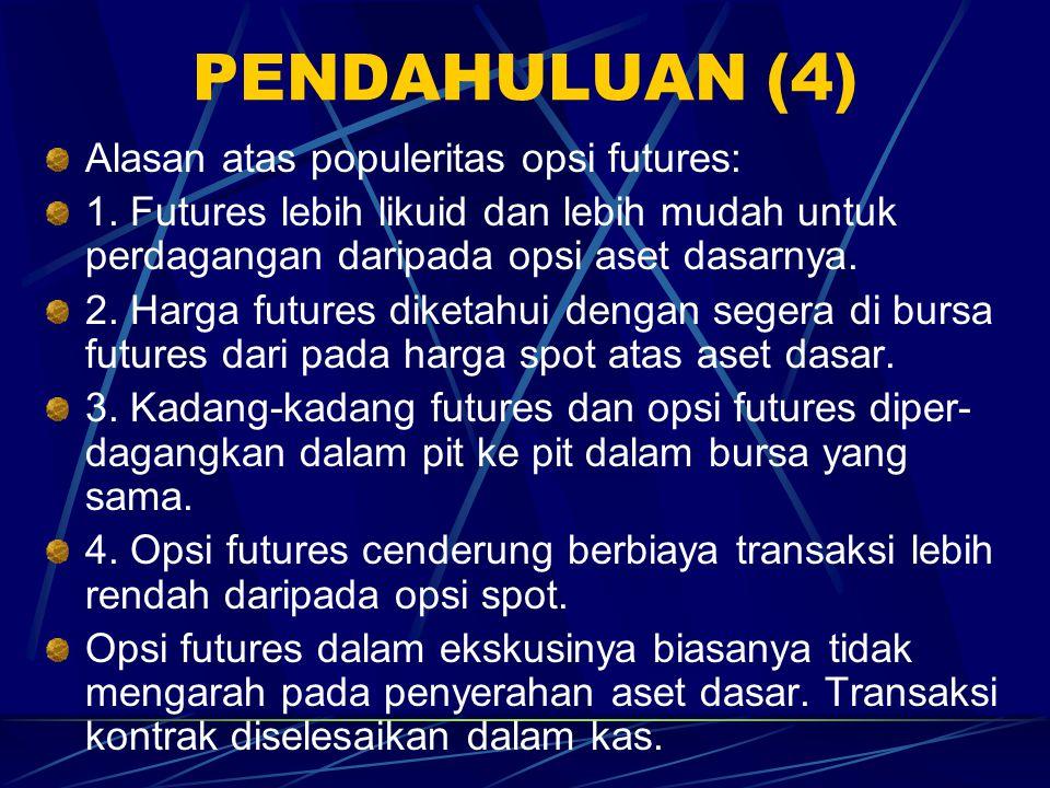 PENDAHULUAN (3) Jika opsi futures beli diekskusi, investor mendapat kontrak futures beli dan ada penyelesaian kas untuk merefleksikan investor memasuk