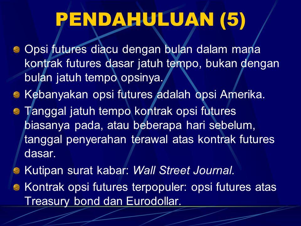 PENDAHULUAN (4) Alasan atas populeritas opsi futures: 1. Futures lebih likuid dan lebih mudah untuk perdagangan daripada opsi aset dasarnya. 2. Harga