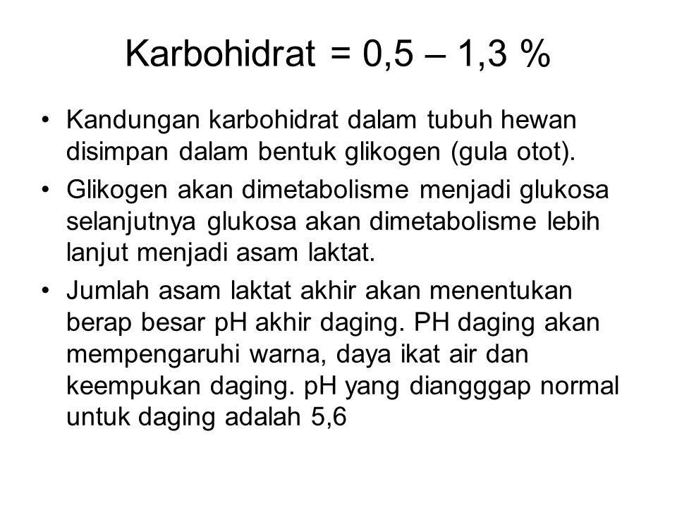 Karbohidrat = 0,5 – 1,3 % Kandungan karbohidrat dalam tubuh hewan disimpan dalam bentuk glikogen (gula otot). Glikogen akan dimetabolisme menjadi gluk