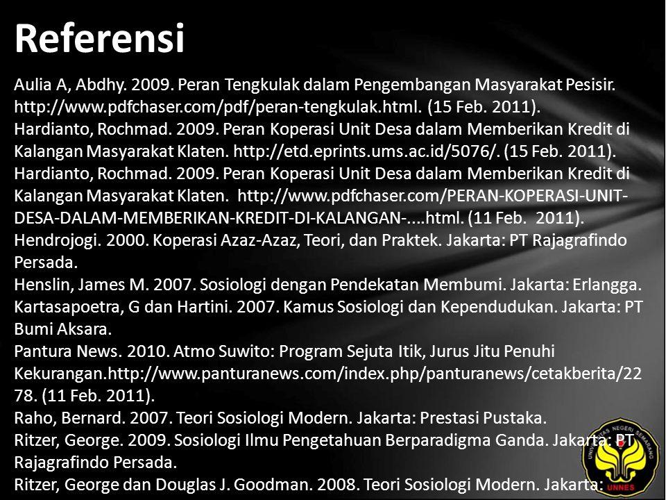 Referensi Aulia A, Abdhy. 2009. Peran Tengkulak dalam Pengembangan Masyarakat Pesisir.