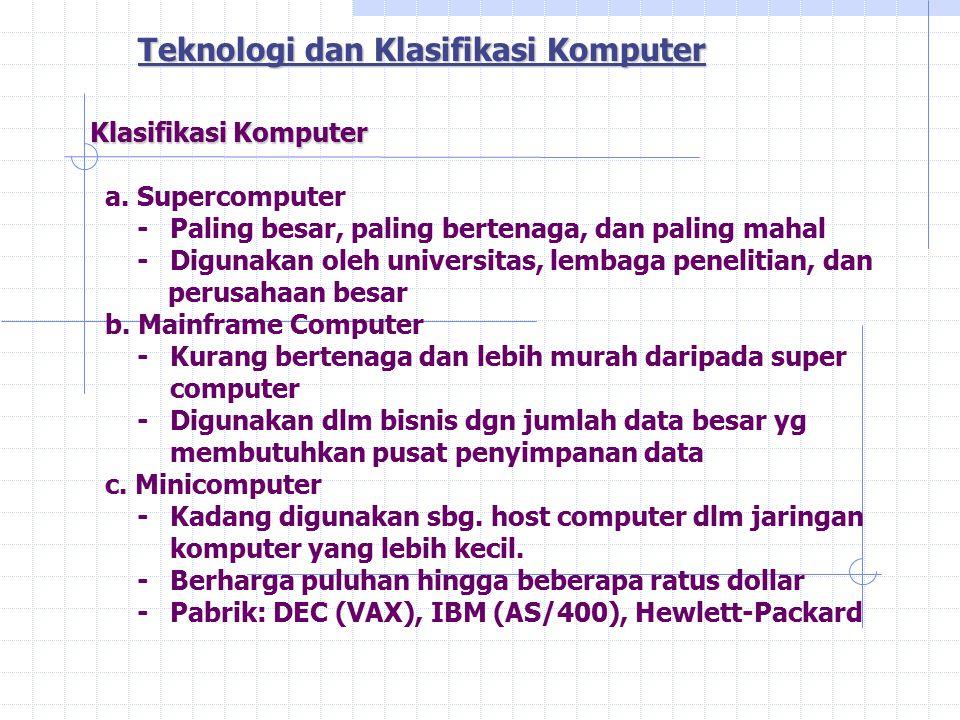 Klasifikasi Komputer Klasifikasi Komputer a.