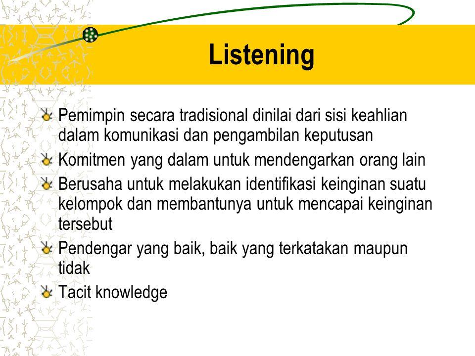 Listening Pemimpin secara tradisional dinilai dari sisi keahlian dalam komunikasi dan pengambilan keputusan Komitmen yang dalam untuk mendengarkan ora