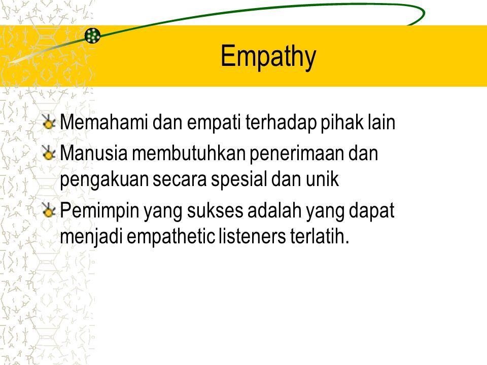 Empathy Memahami dan empati terhadap pihak lain Manusia membutuhkan penerimaan dan pengakuan secara spesial dan unik Pemimpin yang sukses adalah yang