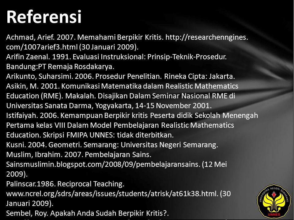 Referensi Achmad, Arief. 2007. Memahami Berpikir Kritis.
