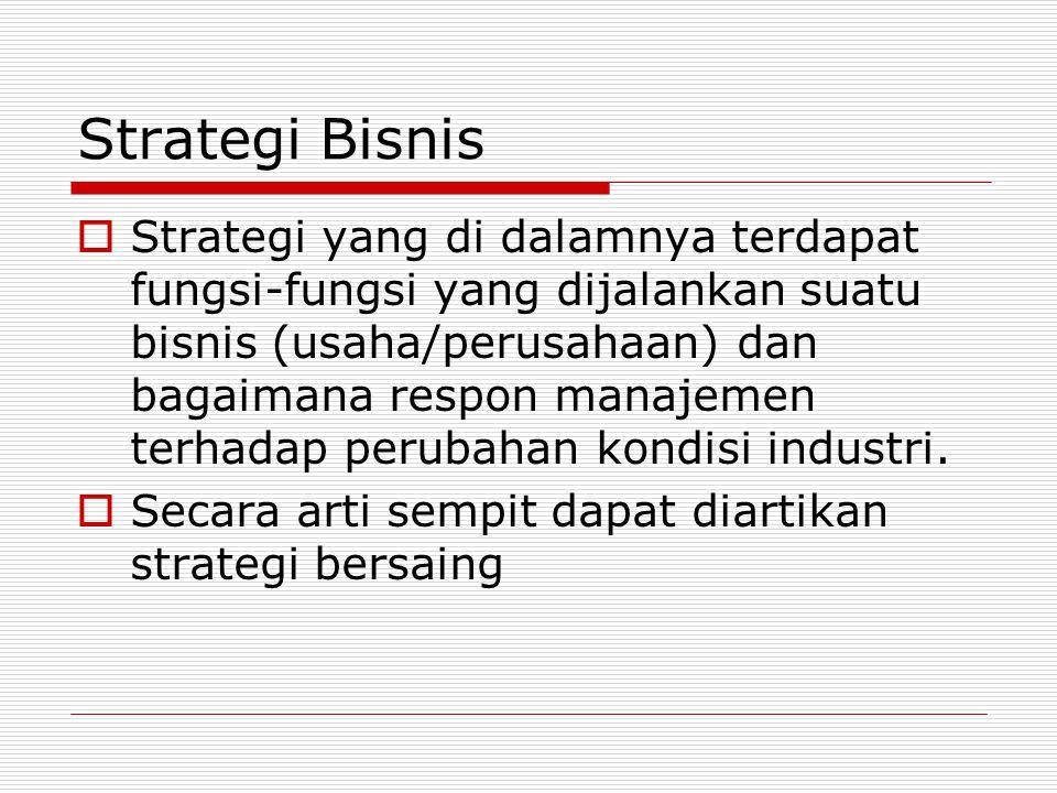 Strategi Bisnis  Strategi yang di dalamnya terdapat fungsi-fungsi yang dijalankan suatu bisnis (usaha/perusahaan) dan bagaimana respon manajemen terhadap perubahan kondisi industri.