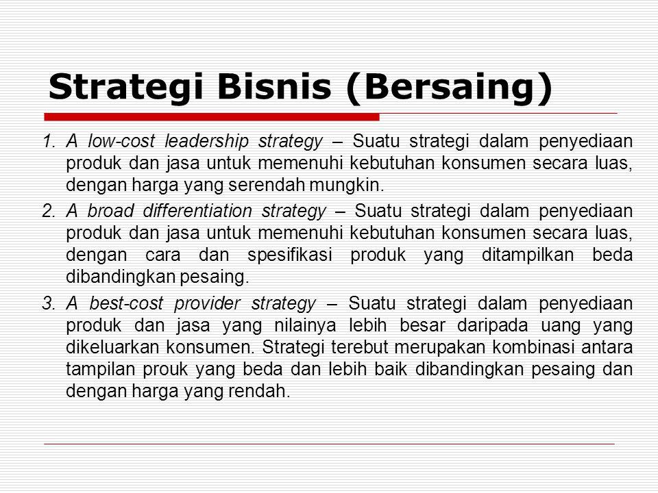 1.A low-cost leadership strategy – Suatu strategi dalam penyediaan produk dan jasa untuk memenuhi kebutuhan konsumen secara luas, dengan harga yang serendah mungkin.