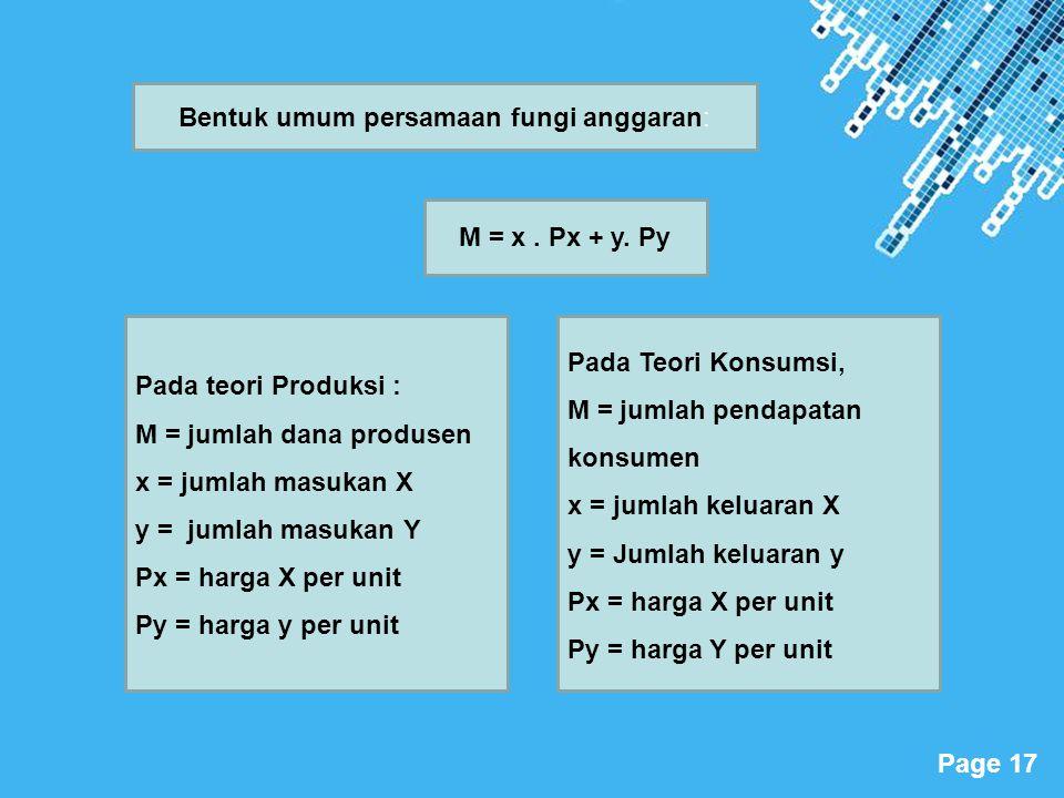Powerpoint Templates Page 17 Pada teori Produksi : M = jumlah dana produsen x = jumlah masukan X y = jumlah masukan Y Px = harga X per unit Py = harga