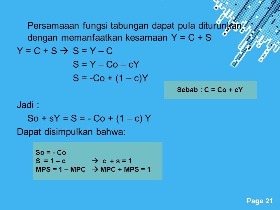 Powerpoint Templates Page 21 Persamaaan fungsi tabungan dapat pula diturunkan dengan memanfaatkan kesamaan Y = C + S Y = C + S  S = Y – C S = Y – Co