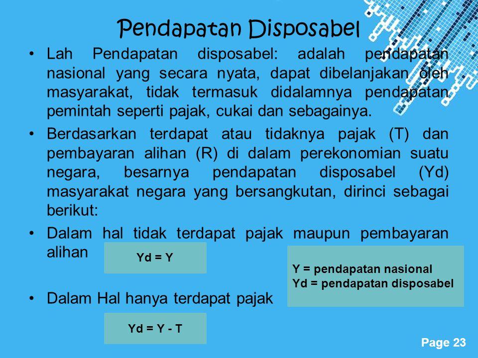 Powerpoint Templates Page 23 Pendapatan Disposabel Lah Pendapatan disposabel: adalah pendapatan nasional yang secara nyata, dapat dibelanjakan oleh ma