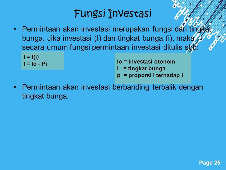 Powerpoint Templates Page 25 Fungsi Investasi Permintaan akan investasi merupakan fungsi dari tingkat bunga. Jika investasi (I) dan tingkat bunga (i),
